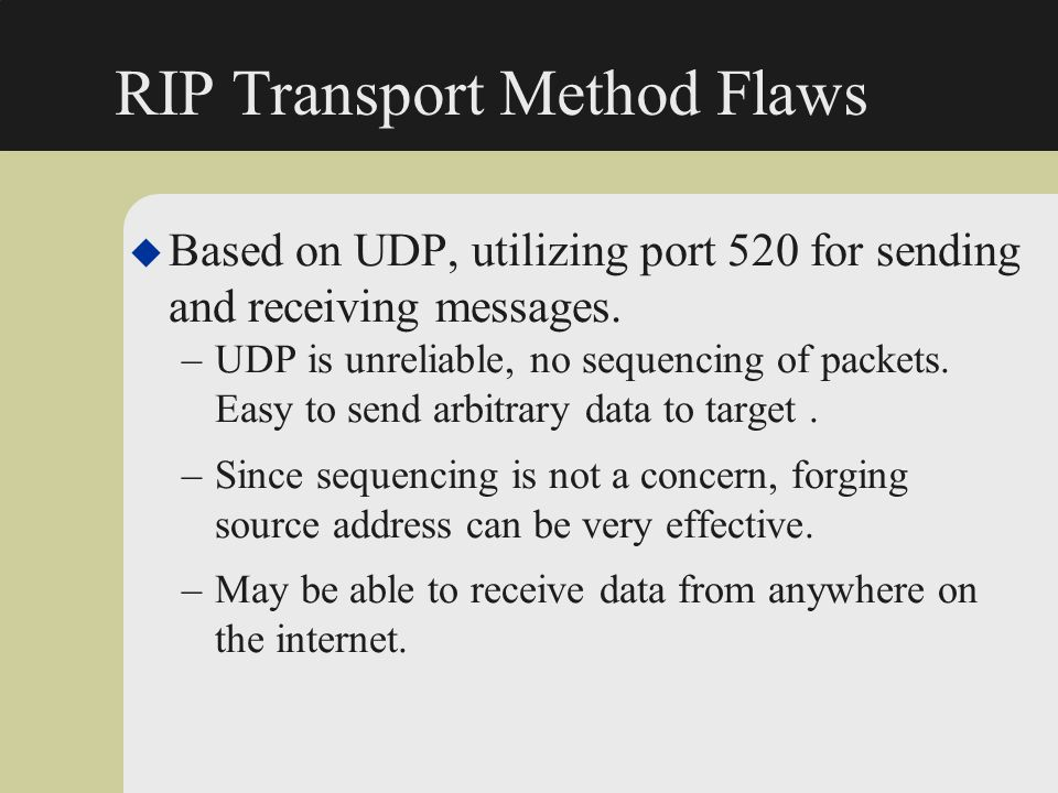 RIP Transport Method Flaws