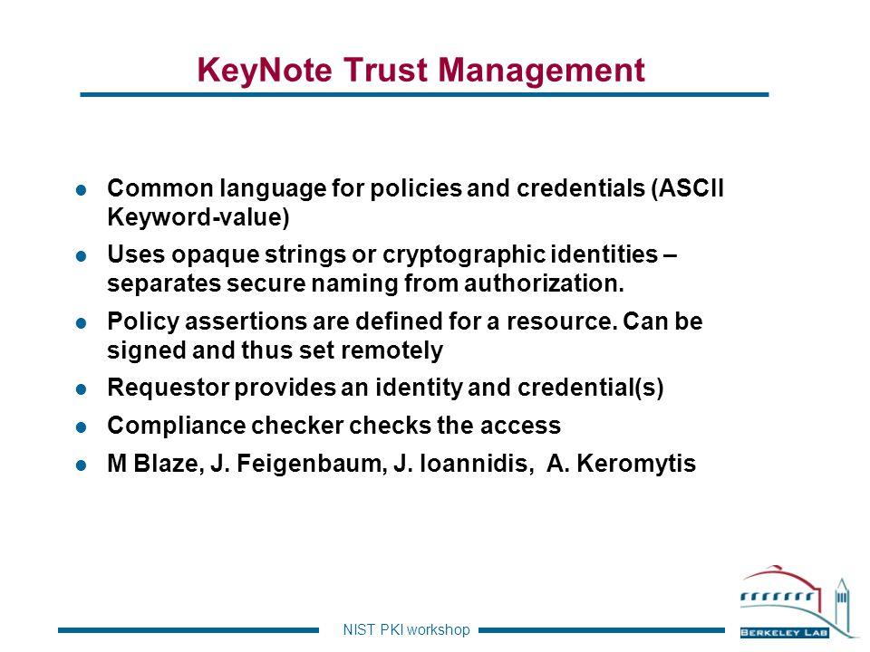 KeyNote Trust Management