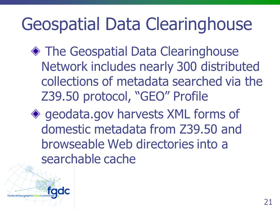 Geospatial Data Clearinghouse