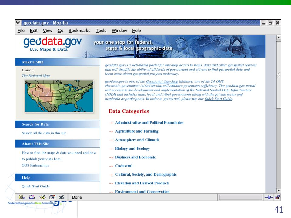 geodata.gov will speed and simplify search and browse of metadata as a replacement for the domestic NSDI Gateways