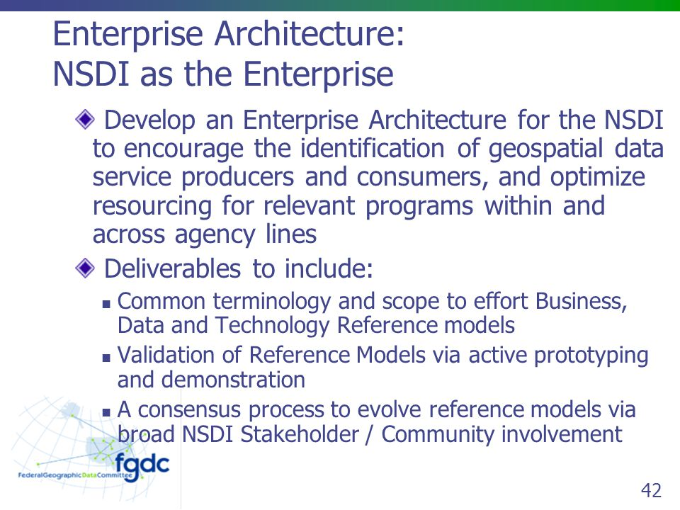 Enterprise Architecture: NSDI as the Enterprise