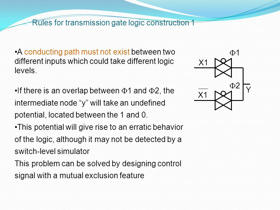 Rules for transmission gate logic construction 1