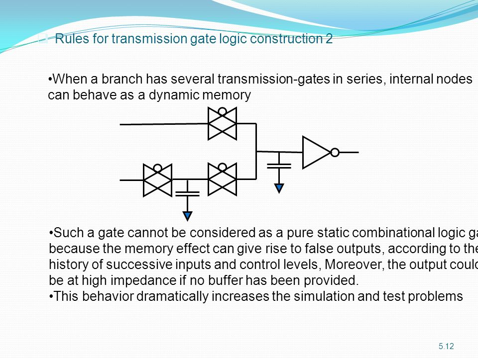 Rules for transmission gate logic construction 2