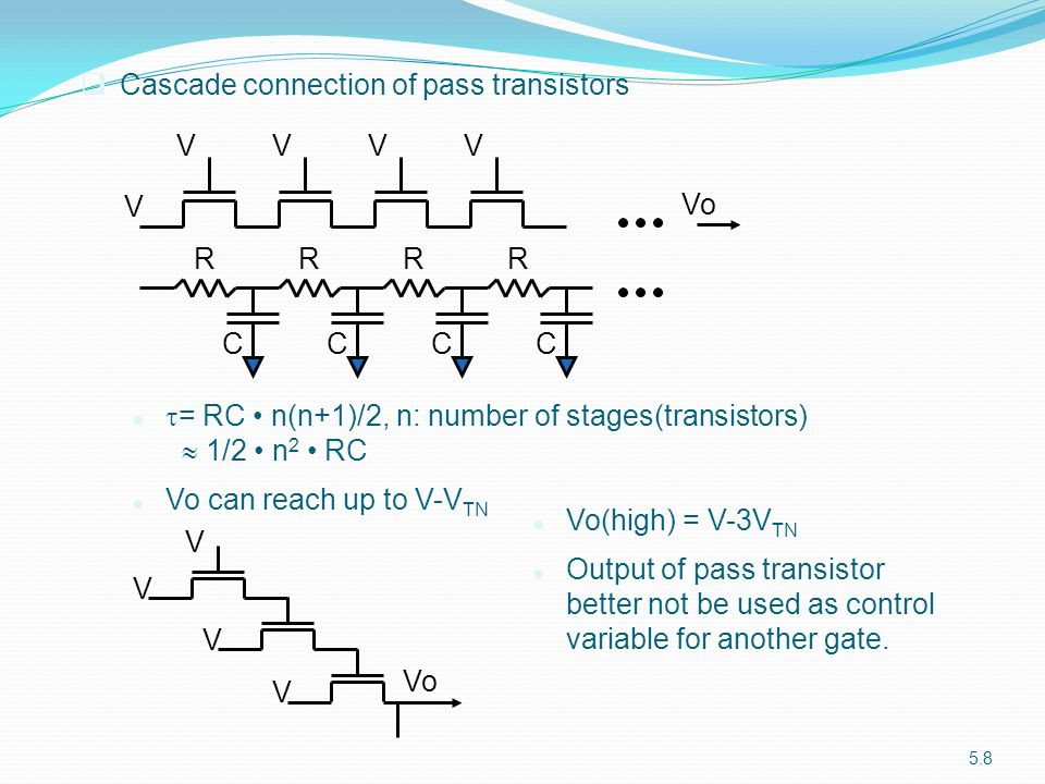 Cascade connection of pass transistors