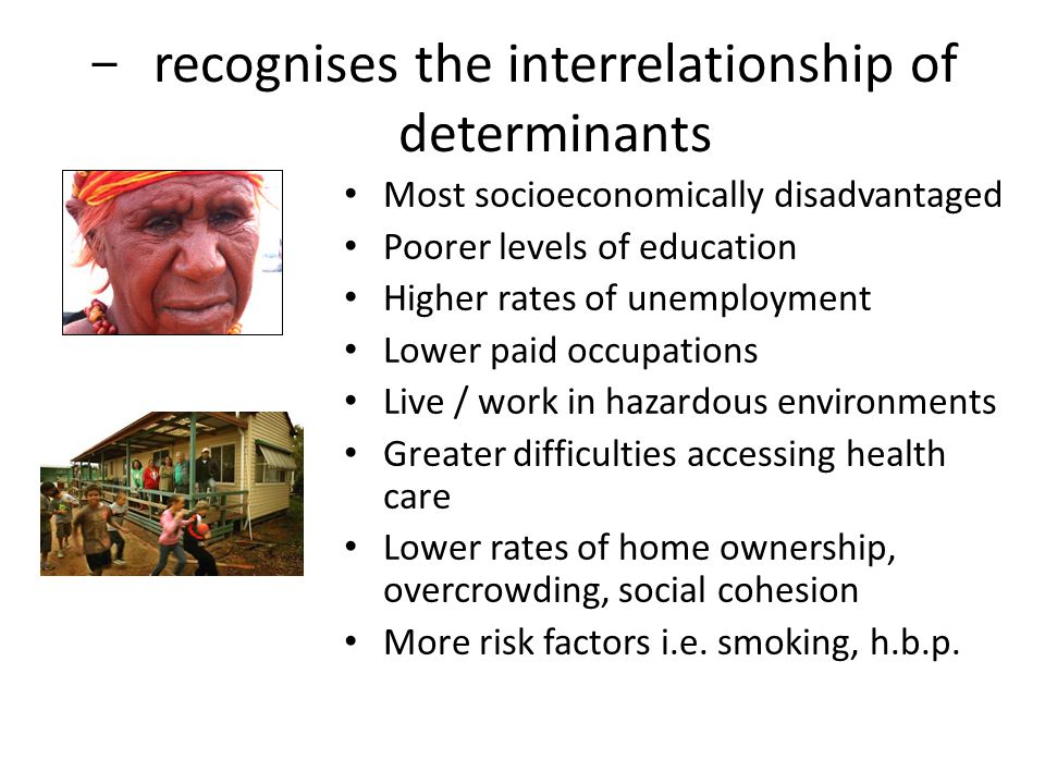 recognises the interrelationship of determinants