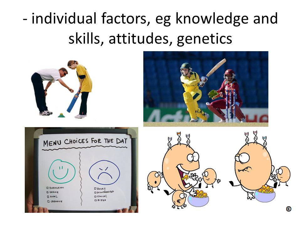 - individual factors, eg knowledge and skills, attitudes, genetics