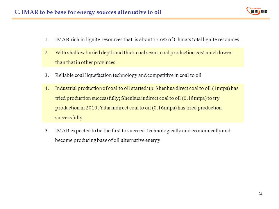 C. IMAR to be base for energy sources alternative to oil