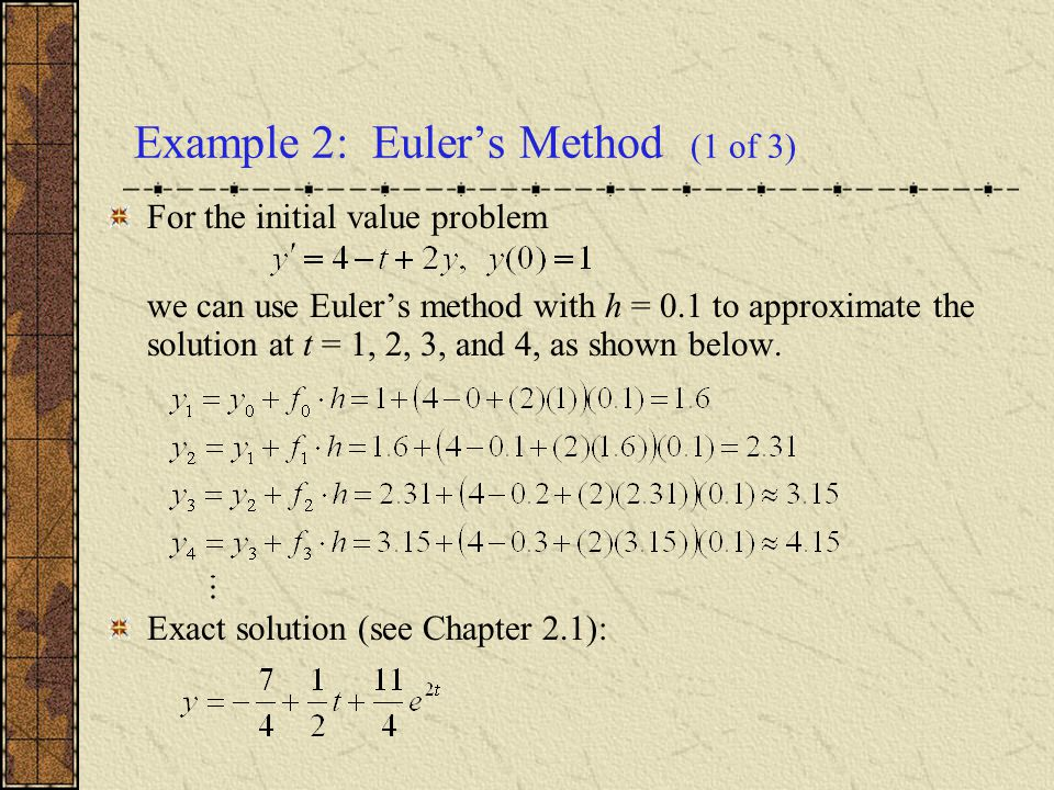 Example 2: Euler's Method (1 of 3)