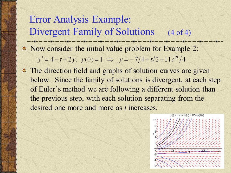 Error Analysis Example: Divergent Family of Solutions (4 of 4)