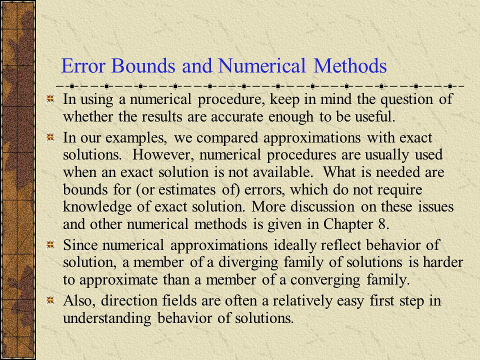 Error Bounds and Numerical Methods