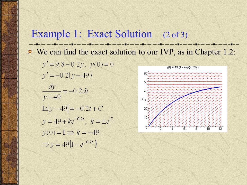 Example 1: Exact Solution (2 of 3)