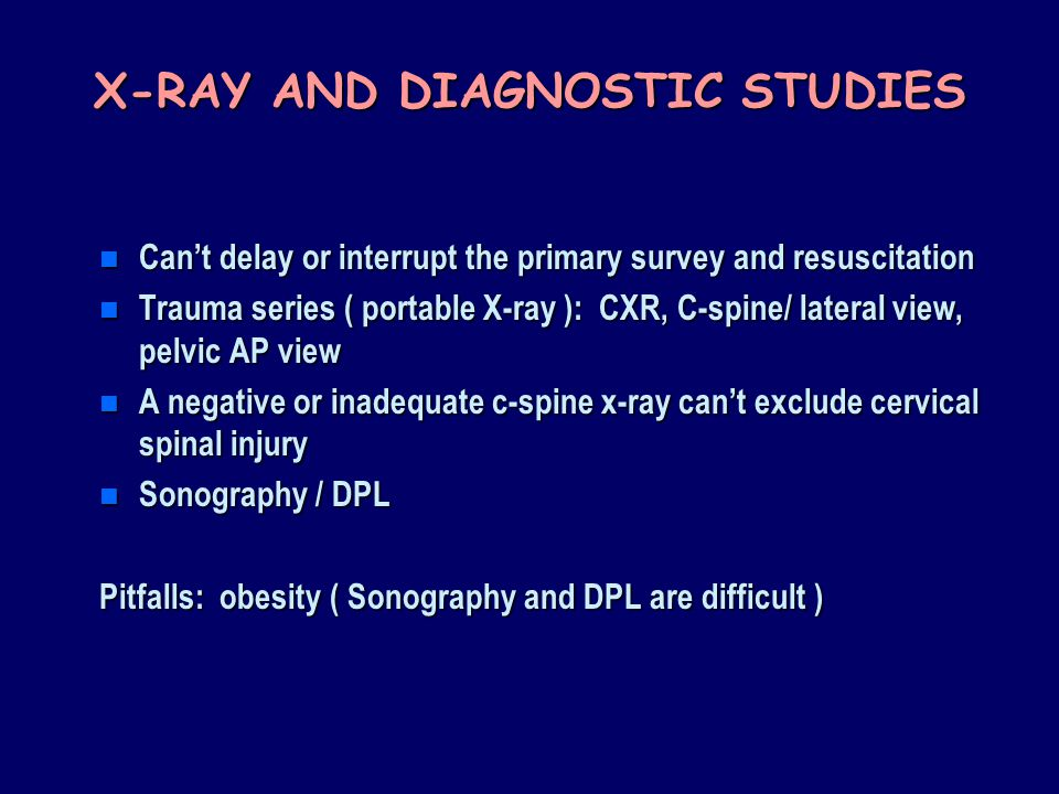 X-RAY AND DIAGNOSTIC STUDIES
