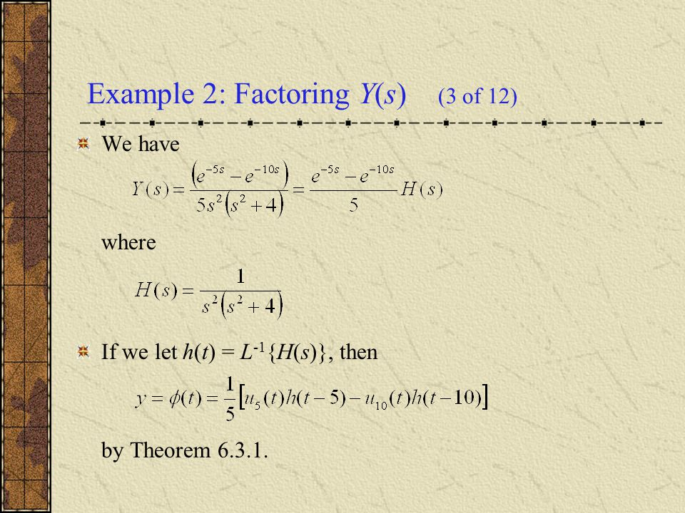 Example 2: Factoring Y(s) (3 of 12)