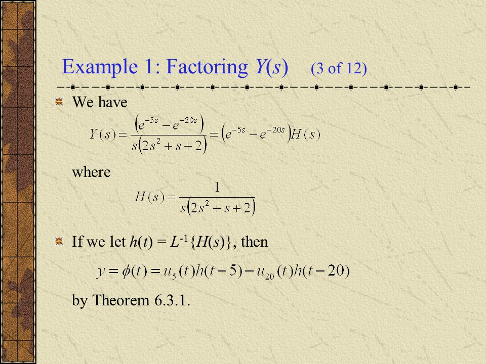 Example 1: Factoring Y(s) (3 of 12)