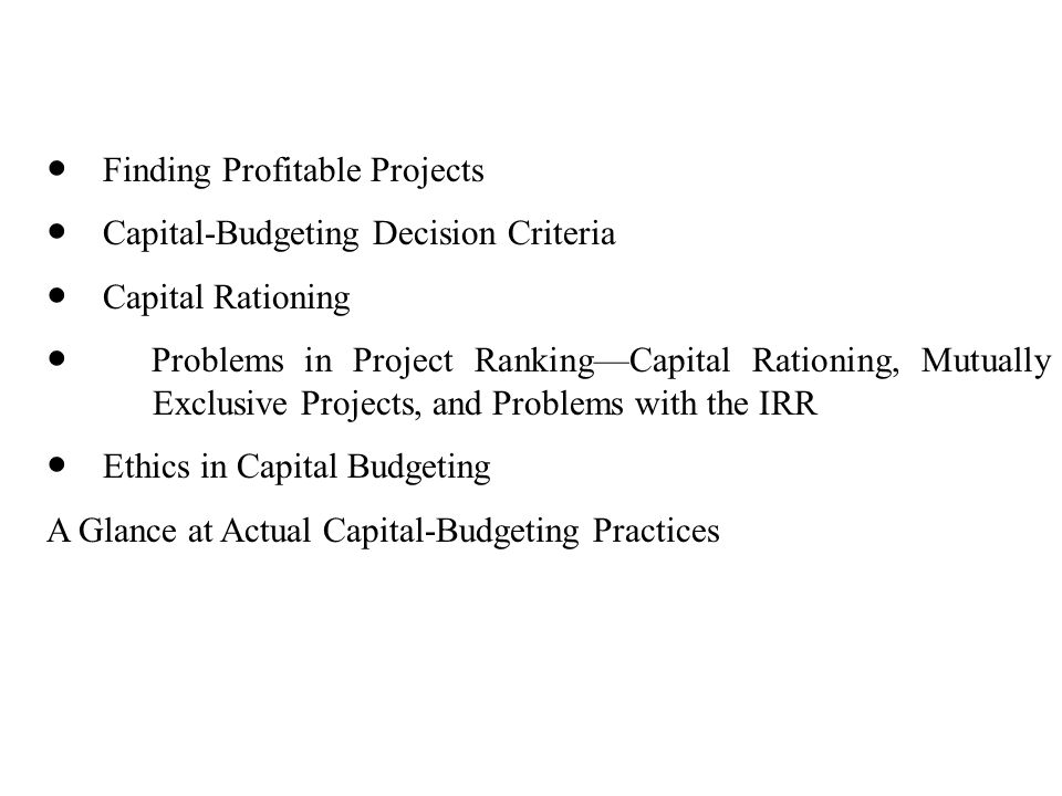 ● Finding Profitable Projects