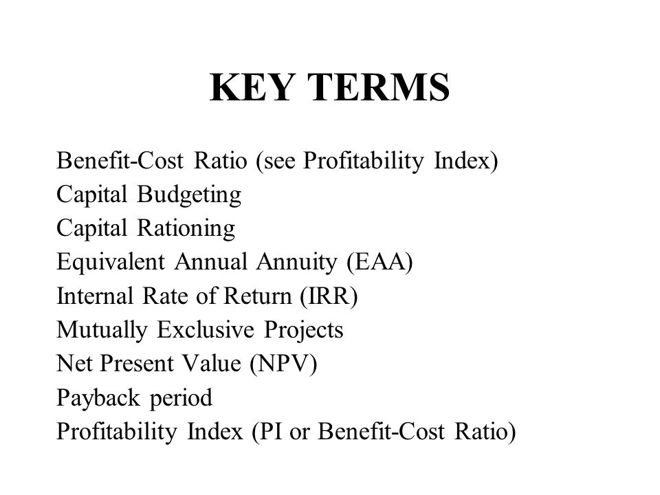 KEY TERMS Benefit-Cost Ratio (see Profitability Index)