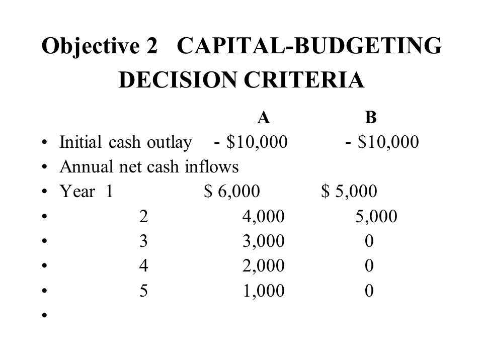 Objective 2 CAPITAL-BUDGETING DECISION CRITERIA