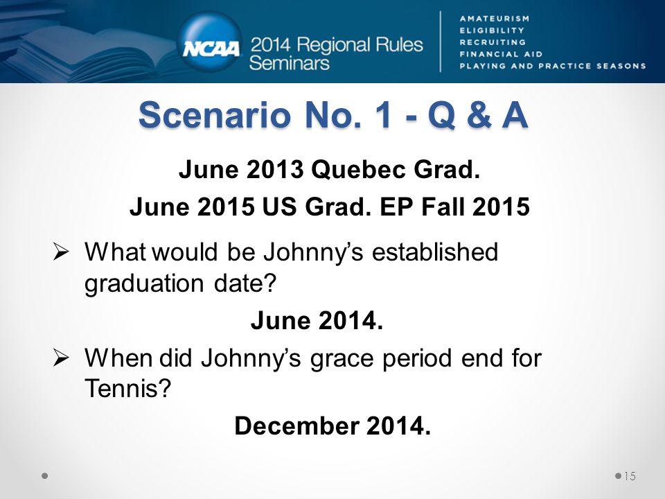 Scenario No. 1 - Q & A June 2013 Quebec Grad.