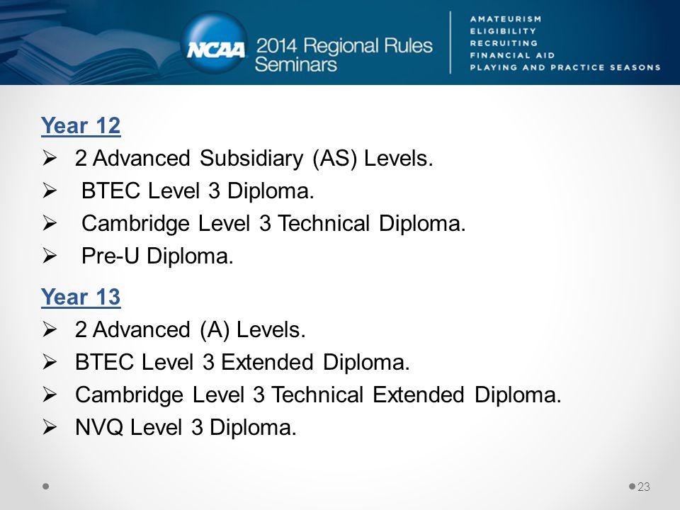 Year 12 2 Advanced Subsidiary (AS) Levels. BTEC Level 3 Diploma. Cambridge Level 3 Technical Diploma.