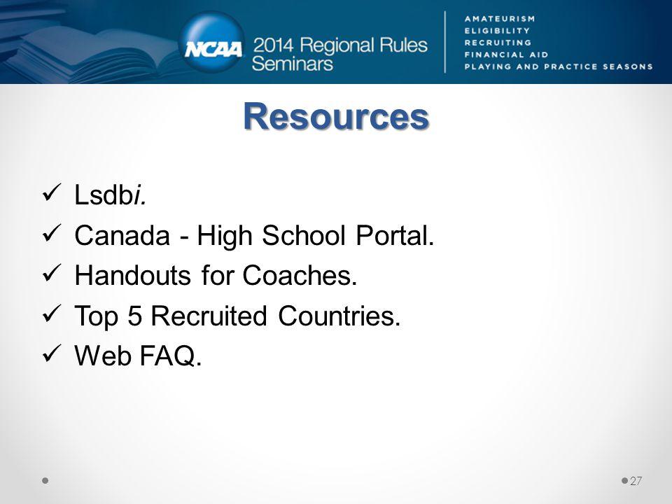 Resources Lsdbi. Canada - High School Portal. Handouts for Coaches.