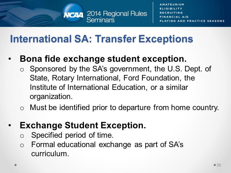 International SA: Transfer Exceptions