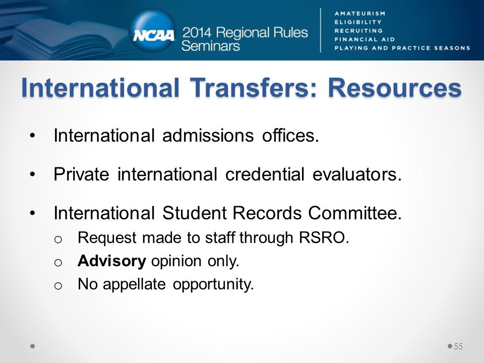 International Transfers: Resources