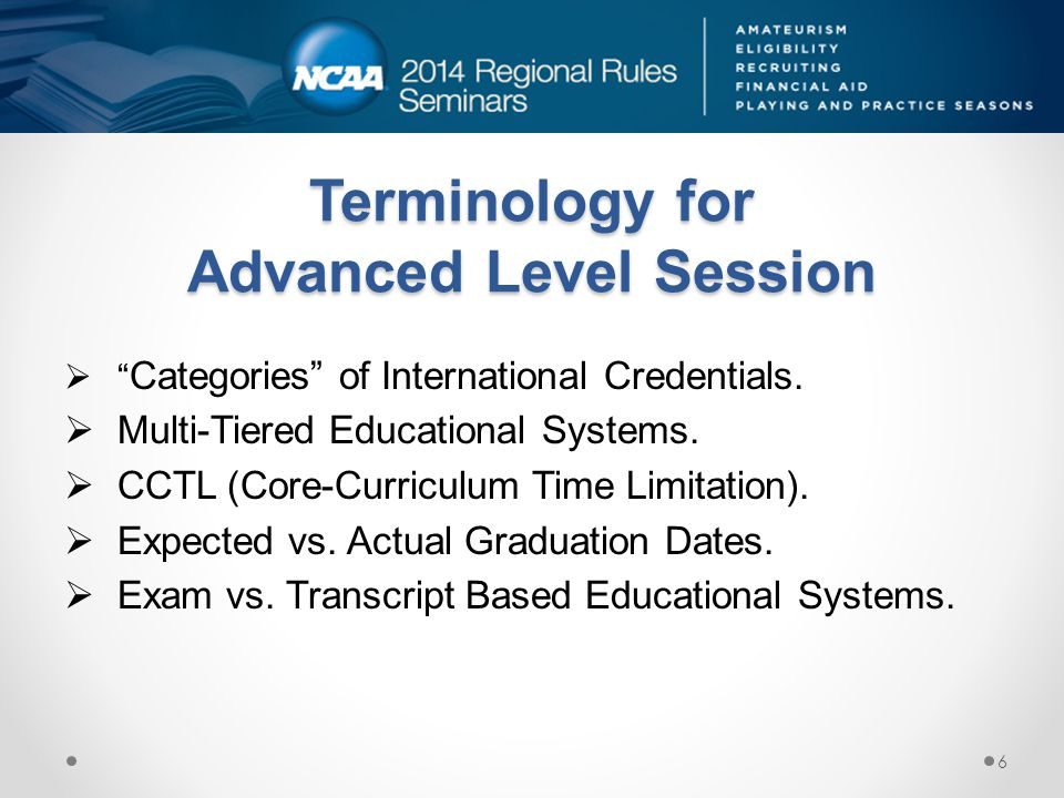Terminology for Advanced Level Session