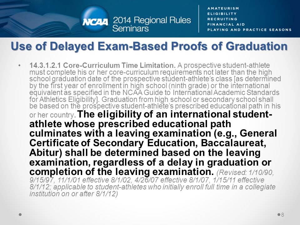 Use of Delayed Exam-Based Proofs of Graduation