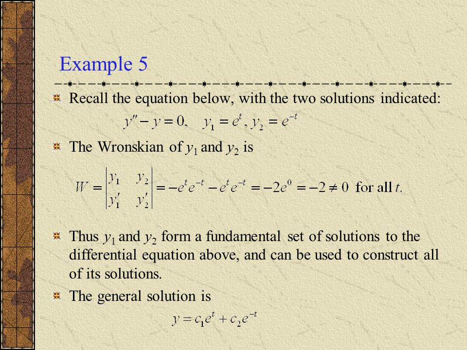 Example 5 Recall the equation below, with the two solutions indicated: