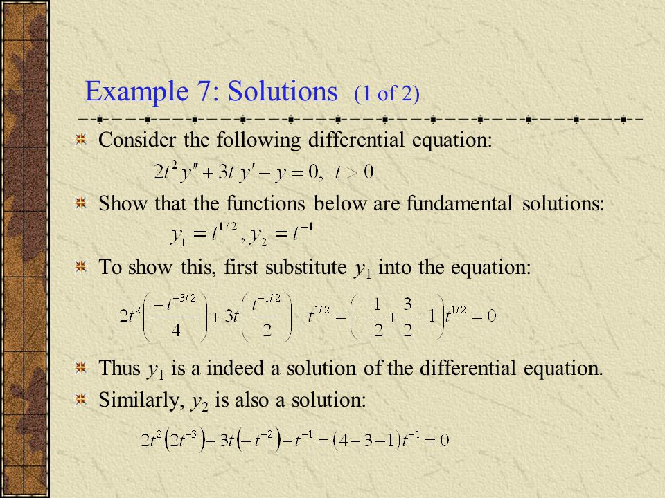 Example 7: Solutions (1 of 2)