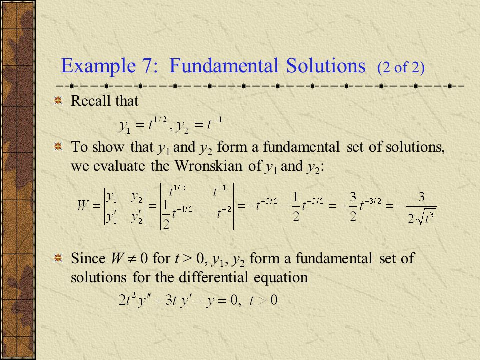 Example 7: Fundamental Solutions (2 of 2)