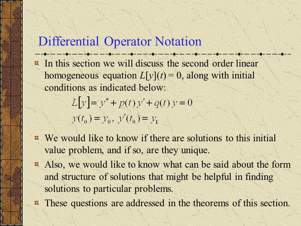 Differential Operator Notation