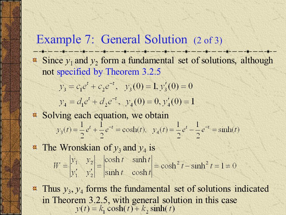 Example 7: General Solution (2 of 3)
