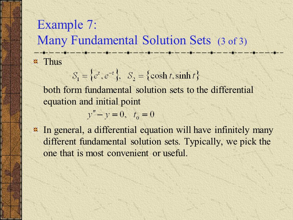 Example 7: Many Fundamental Solution Sets (3 of 3)