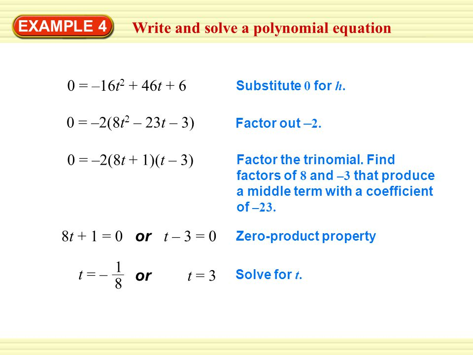 Write and solve a polynomial equation