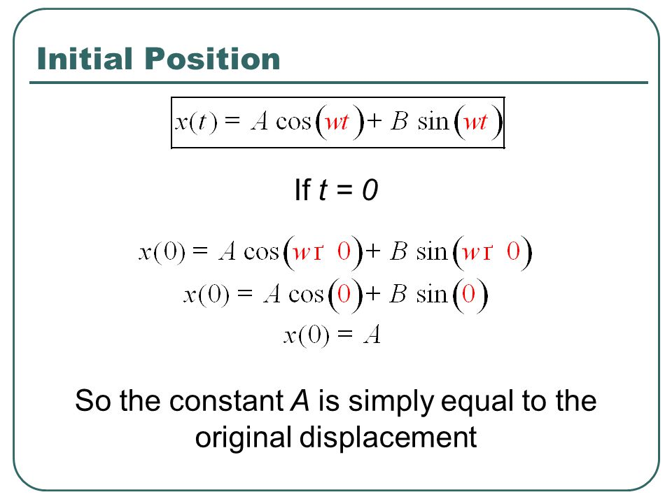 So the constant A is simply equal to the original displacement