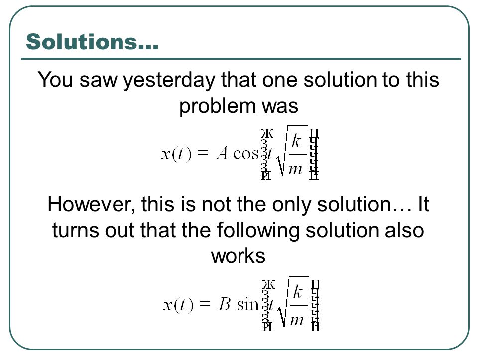 You saw yesterday that one solution to this problem was