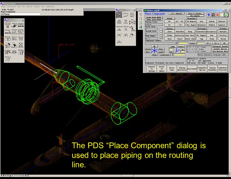 The PDS Place Component dialog is used to place piping on the routing line.
