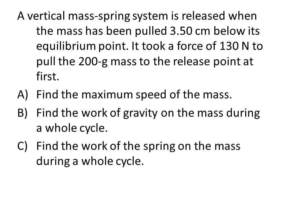 A vertical mass-spring system is released when the mass has been pulled 3.50 cm below its equilibrium point. It took a force of 130 N to pull the 200-g mass to the release point at first.