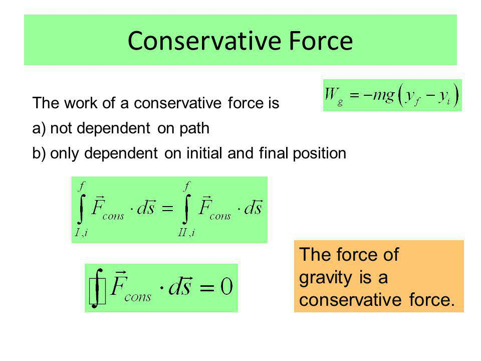Conservative Force The force of gravity is a conservative force.