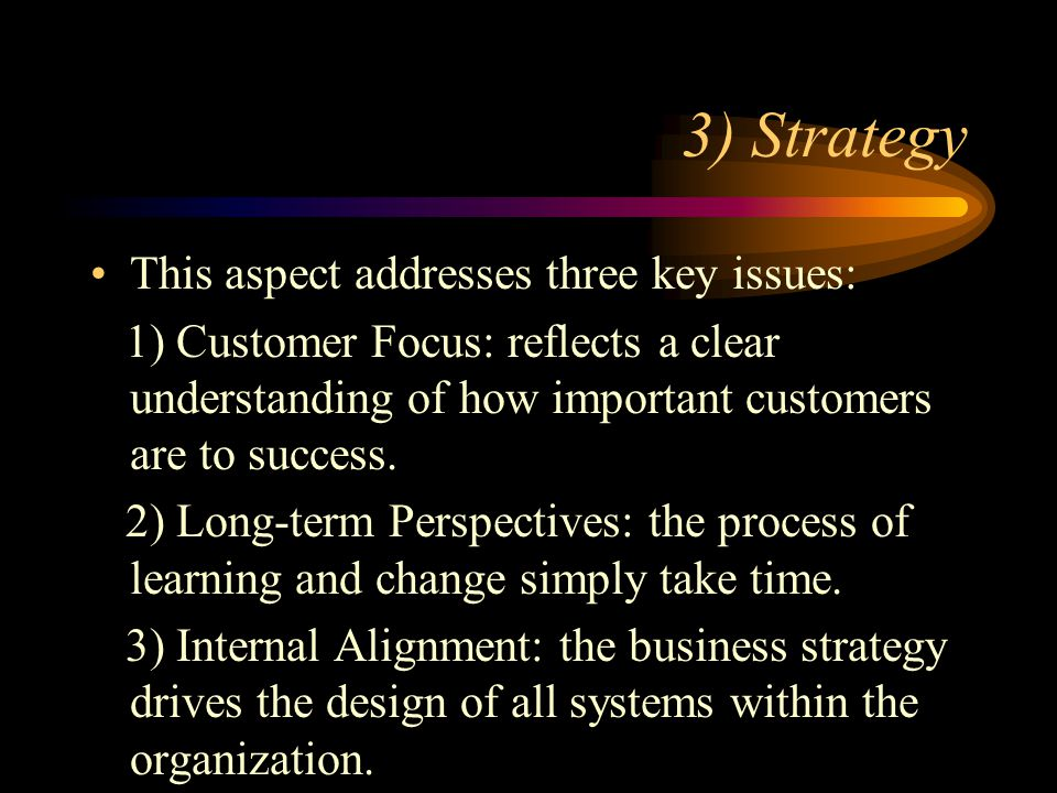 3) Strategy This aspect addresses three key issues: