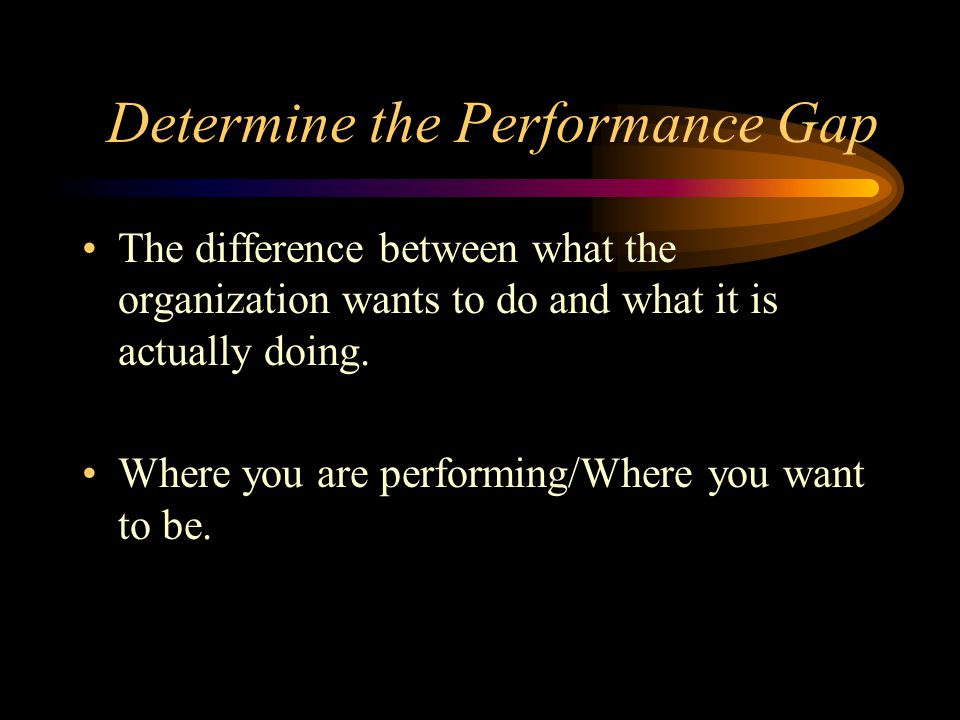 Determine the Performance Gap