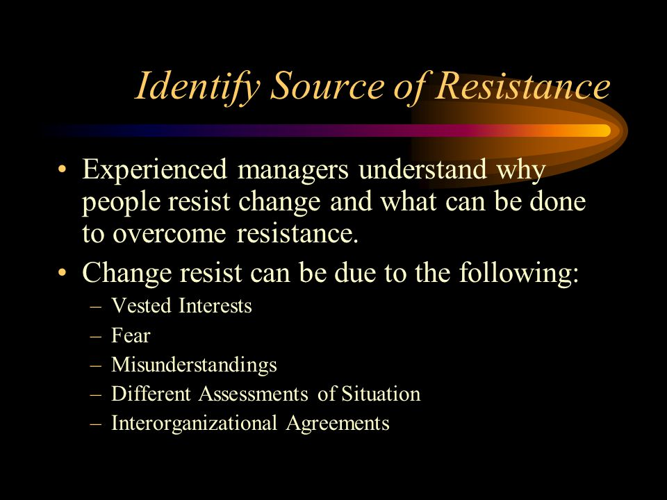 Identify Source of Resistance