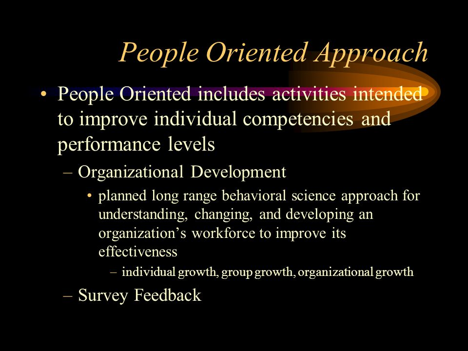 People Oriented Approach