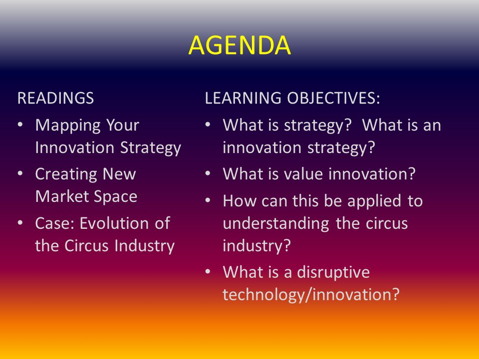 AGENDA READINGS Mapping Your Innovation Strategy