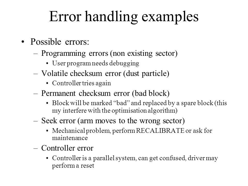 Error handling examples