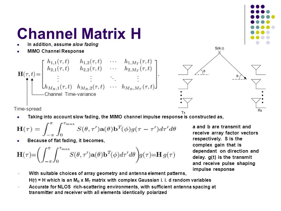 Channel Matrix H Channel Time-variance Time-spread