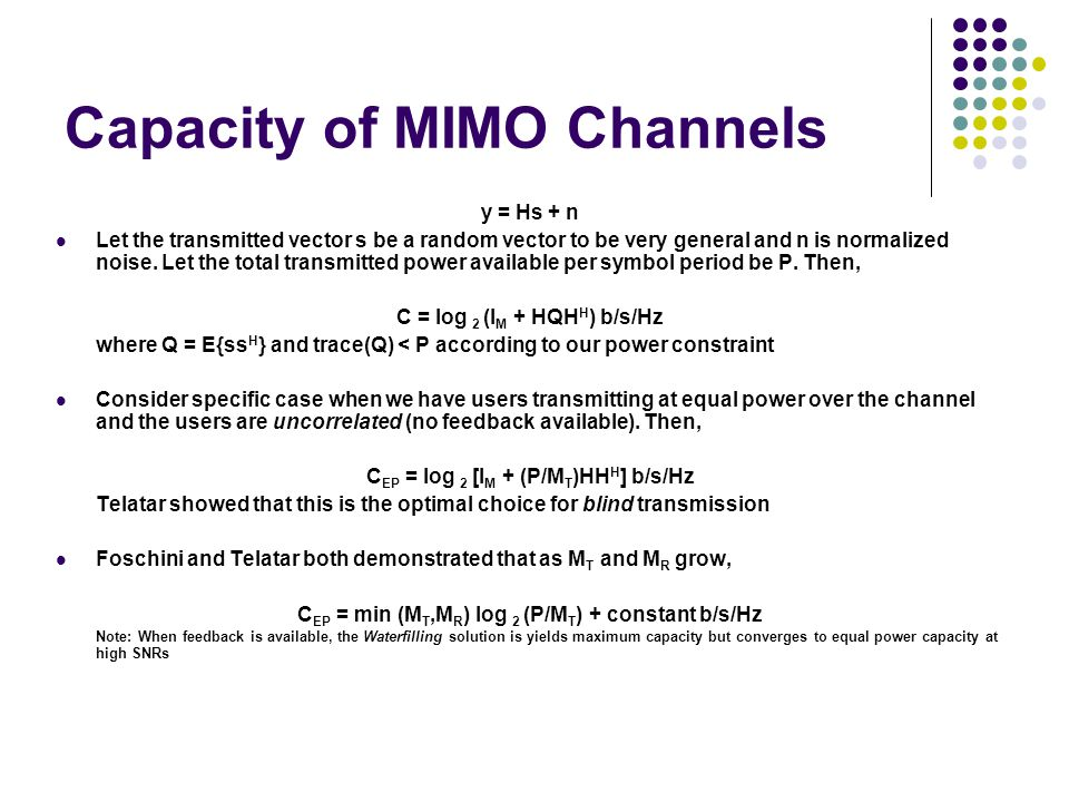 Capacity of MIMO Channels