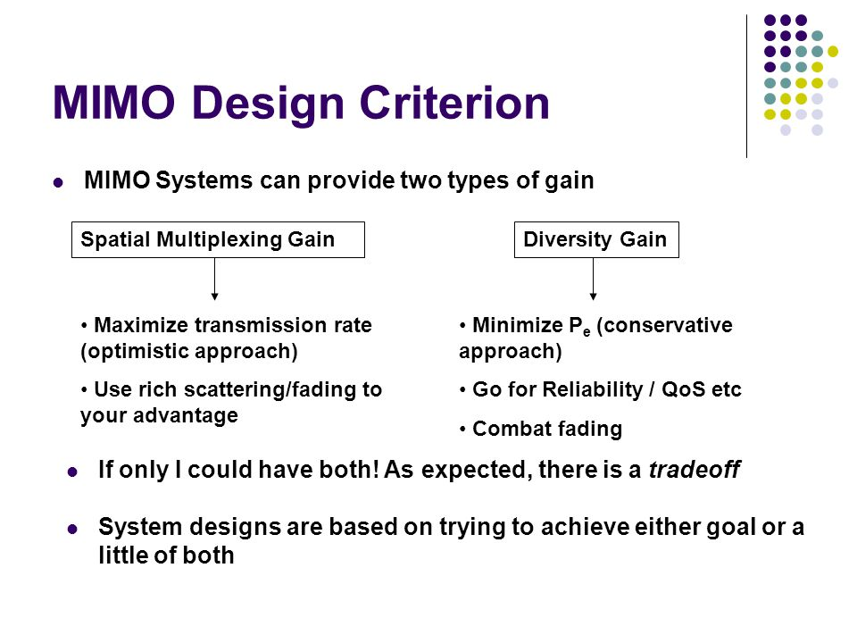 MIMO Design Criterion MIMO Systems can provide two types of gain