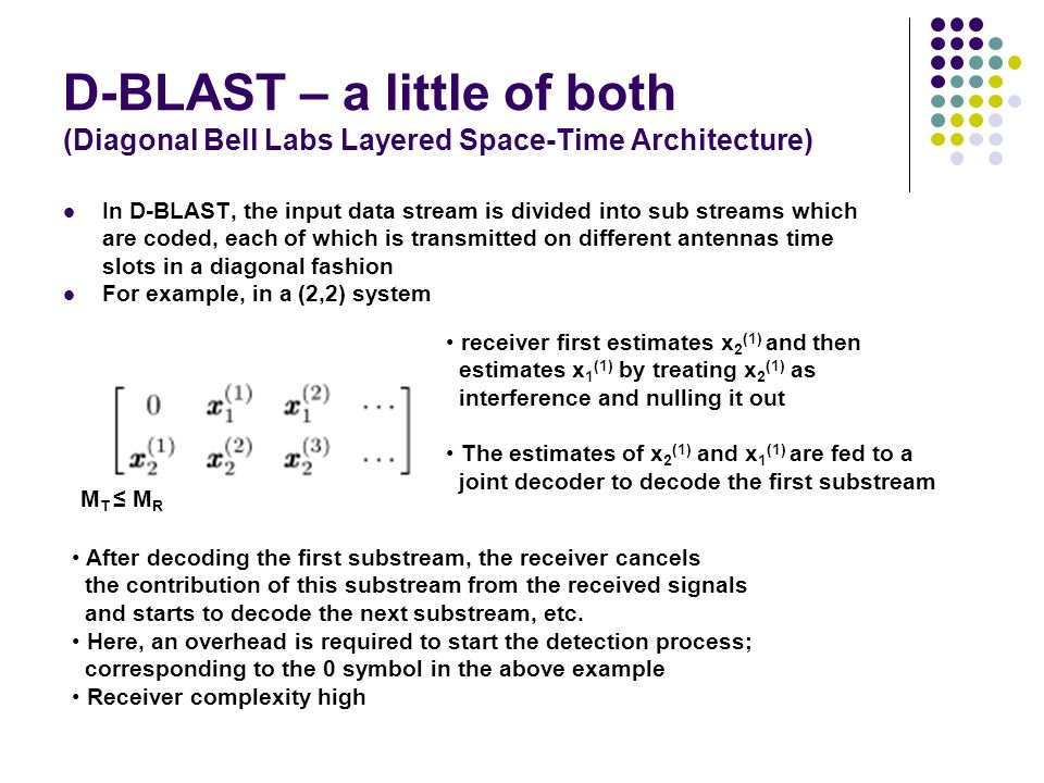 D-BLAST – a little of both (Diagonal Bell Labs Layered Space-Time Architecture)